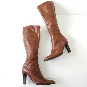 J. Crew knee high riding boots heeled cognac sz 7